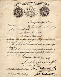 Walter and Clement's signature letter, 1881