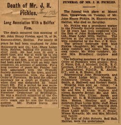 John Pickles Obituary, 1931