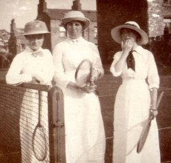 Mrs Wright, C. Holdsworth, D. Highley, Halifax Tennis Club, 1913. From George Bertram Holdsworth photograph album 1909