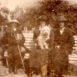 Emmaline Sykes, Mabel, 'George', Doris. From George Bertram Holdsworth photograph album 1909