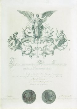 Certificate awarded to Holdsworth, 1851