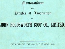 John Holdsworth Boot Co Ltd, Incorporated 1920