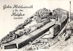 Drawing of Shaw Lodge Mills, John Holdsworth & Co Ltd, Halifax 1979