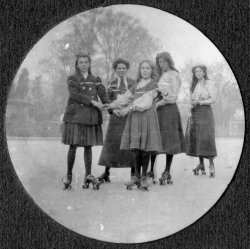 Roller skating at the rink in Clifton Zoological Gardens, 1908