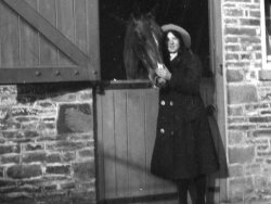 Mabel Highley with horse, c1910
