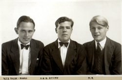 WFB Pollock-Morris, ANB Ritchie, Michael Holdsworth at Harrow, July 1939