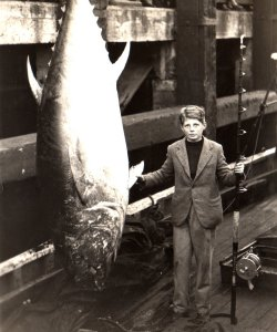 John Holdsworth aged 14 with his 614 Lb Tunny. 1934