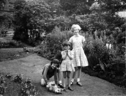 Pat, Gillian and Deirdre Laycock and 'Patsy' at Shaw House, Halifax, ca 1950