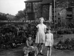 Pat, Deirdre and Gillian Laycock and 'Patsy' at Shaw House, Halifax, ca 1950