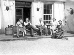Mrs Bryceson, Michael Bryceson, Bill Holdsworth, Dina Maria Holdsworth, Sue Barnard at Scargill House, Kettlewell 1953