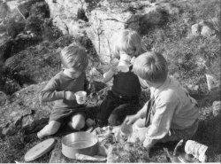 Howard, Ingrid and Michael Holdsworth, A tea-party above Scargill, Kettlewell 1953