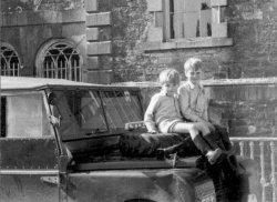 Howard and Michael Holdsworth on a Land-Rover at Bellinter House, 1954