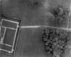 Aerial photo of The walled garden at Scargill taken by Bill Holdsworth from a Spitfire in 1944