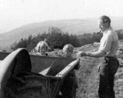 Ingrid, Howard and Bill Holdsworth on Top Ploughing at Scargill 1954