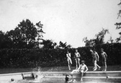 John on the diving board, Swimming Bath at Lockers Park School