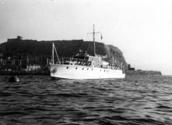 Gwynreta on a buoy in Scarborough Bay 1950