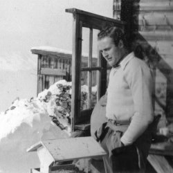 Malcolm at the Hörnli Hut, Arosa, Switzerland, 1956
