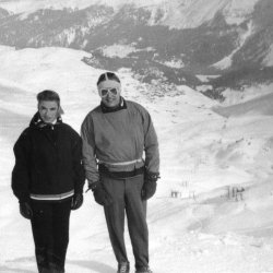 Pat & Malcolm at the Hörnli Hut, Arosa, Switzerland, 1956