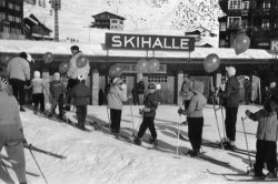 In the childrens ski school, Arosa, Switzerland, 1956