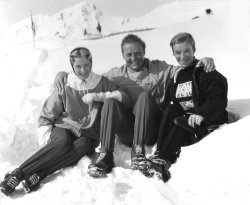 DMH, Pat & Malcolm at the Hörnli Hut, Arosa, 1956