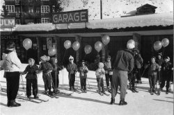 at the Ski School, Arosa, 1956