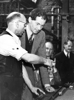 Maurice Macmillan, MP, on official visit to John Holdsworth & Co Ltd, Aug 13, 1956