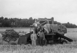 Paddy and Joe Laycock with Luke and Paddy, combining at Bellinter, 1956