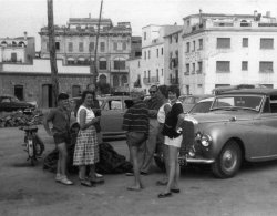 At Palamos touring with the Mk V1 Bentley with the Abbotts body BCP555, 1955